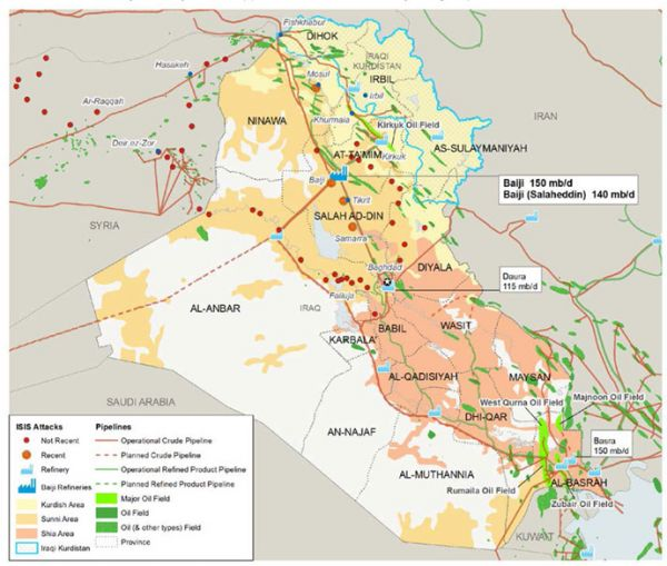 Islamic State IS Islamic State of Iraq and ash Sham ISIS – Map of Iraqi Oil Fields
